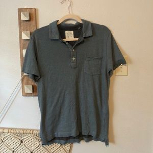 Billy Reid Men's Blue Collared Polo Shirt